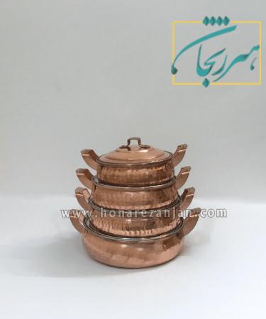 سرویس ماهیتابه مسی شکمی چکشی زنجان | قیمت و خرید سرویس ماهیتابه مسی شکمی